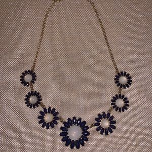 Francesca's Gold and Blue Flower Necklace